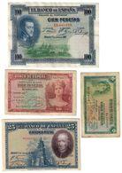 Spain Lot 4 Banknotes - [ 2] 1931-1936: Republik