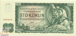 CZECHOSLOVAKIA 100 KORUN 1961 PICK 91c UNC FANCY SERIAL NUMBER - Cecoslovacchia