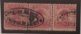 O) 1899 CUBA - CARIBBEAN, ROYAL PALMS 2c. STRIP BY 3 Un. - GUIRA DE MELENA CERTIFIED, XF - Oblitérés