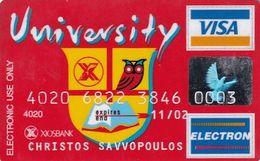 GREECE - University, XIOS Bank Visa(reverse Solaic, Mellon Tech), Used - Geldkarten (Ablauf Min. 10 Jahre)