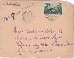 Comores - Oblitération De Mutsamudu Madagascar Du 26 Août 1952 - Par Avion Et T De Taxe Biffé Manuscrit Voie De Surface - Madagascar (1960-...)