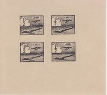 #04 Great Britain Lundy Island Stamp 1937 Small Airmail #18e Reprint Proof Black. - Emissione Locali
