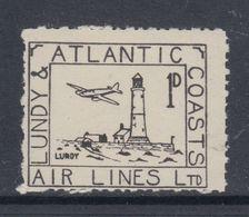 #01f Great Britain Lundy Island Puffin Stamp Black Airmail #20 Complete Engine M - Emissione Locali