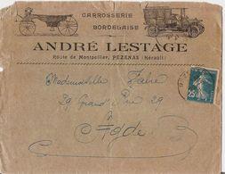 ANDRE LESTAGE CARROSSERIE BORDELAISE AUTOMOBILE - PEZENAS - ENVELOPPE ET LETTRE 1921 - Publicités