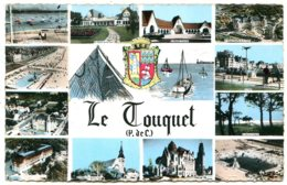 62520 LE TOUQUET (Paris-Plage) - Vues De La Ville, Blason Et Dessin - CPSM 9x14 Photographie Véritable - Le Touquet