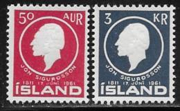 Iceland Scott # 335-6 MNH Sigurdsson, 1961 - 1944-... Republic