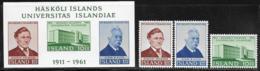 Iceland Scott # 342-4a MNH University Of Iceland Anniv, 1961 - 1944-... Republic