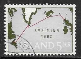 Iceland Scott # 350 Used Map Of Submarine Cable, 1962 - 1944-... Republic