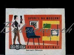 L9 188 CZECHOSLOVAKIA 1964 Statni Sporitelna State Saving Bank Modern Furnishings - Furniture, Television - Boites D'allumettes - Etiquettes