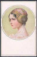 E021 ART NOUVEAU MUNK Nr 915 FEMME BIJOUX De Tête BEAUTIFUL LADY Portrait HEAD Ornaments - Autres Illustrateurs