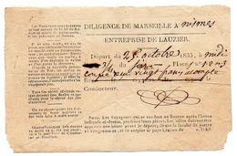 DILIGENCE De MARSEILLE à NISMES ( NIMES ) : Réservation De 3 Places, 1833, Entreprise DE LAUZIER. - Other