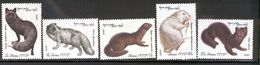 USSR/RUSSIA 1980 Animals: Foxes, Mink, Nutria, Sable; Scott Catalogue No(s). 4838-4842 MNH - Sellos