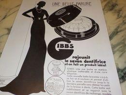 ANCIENNE PUBLICITE RAJEUNIT LE SAVON  DENTIFRICE GIBBS 1933 - Autres