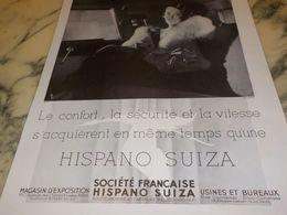 ANCIENNE PUBLICITE CONFORT SECURITE VOITURE  HISPANO SUIZA  1933 - Voitures