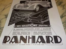 ANCIENNE PUBLICITE DES SOLUTIONS JUSTE VOITURE  PANHARD 1933 - Voitures