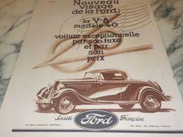 ANCIENNE PUBLICITE NOUVEAU VISAGE VOITURE  FORD  1933 - Voitures