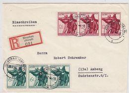 Deutsches Reich R-Brief Mit 2x 3er Streifen Satzfrankatur Ab Hirschau+AKs - Alemania