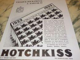 ANCIENNE PUBLICITE PRETE A PARTIR VOITURE HOTCHKISS 1933 - Voitures