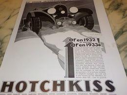 ANCIENNE PUBLICITE D1 ER EN 1932  HOTCHKISS  1933 - Voitures