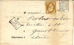 1860 -formulaire N°103  De Mai 1859 Avis De Chargement  De Grenoble ( Isère ) Affr. N°13 Oblit. P C 1432 - Storia Postale