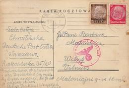 GG Litauen: Postkarte Warschau Nach Vilnius, Zensur, Portogerecht - Besetzungen 1938-45