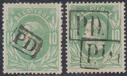 """émission 1869 - 2 Exemplaires Du N°30 Annulé Par Griffe Encadrée """"PD"""" (format Différent, Une Griffe En Double Frappe) - 1869-1883 Leopold II"""