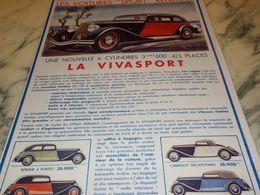 ANCIENNE PUBLICITE LES VOITURES SPORT  RENAULT  1933 - Voitures