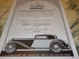ANCIENNE PUBLICITE LES STELLA  VOITURES   RENAULT  1933 - Voitures