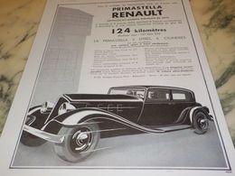 ANCIENNE PUBLICITE PRIMASTELLA  VOITURES   RENAULT  1933 - Voitures