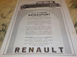 ANCIENNE PUBLICITE REINASPORT  VOITURES   RENAULT  1933 - Voitures