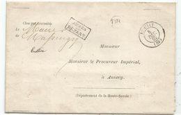 HAUTE SAVOIE T15 RUMILLY 8 DEC 1862 LETTRE FRANCHISE + OR LE MAIRE DE MASSINGY - 1849-1876: Période Classique