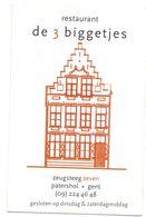 Visitekaartje - Carte De Visite - Restaurant - De 3 Biggetjes - Patershol Gent - Visitekaartjes