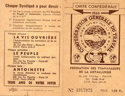 Carte Confédérale - Fédération Des Travailleurs De La Mettalurgie - 1966.- Avec Timbres Et Solidarité - 2 Scans - - Maps