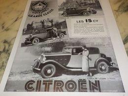 ANCIENNE PUBLICITE VOITURE DE GRANDE CLASSE CITROEN  1933 - Voitures