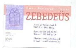 Visitekaartje - Carte De Visite - Café Restaurant Zebedeüs - Den Haag - Visitekaartjes