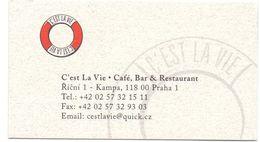Visitekaartje - Carte De Visite - Restaurant C'Est La Vie - Praha - Praag - Prague - Visitekaartjes