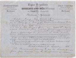"""Bordereau D'affrètement Ligne Bordeaux - Nouméa/Tahiti Sabourin/Tandonnet Navire """"Le Petit Bourgeois"""" 1878 - Documenti Storici"""