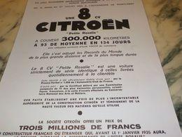 ANCIENNE PUBLICITE UNE 8CV    CITROEN   1933 - Voitures