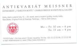 Visitekaartje - Carte De Visite - Antiek - Antikvariat Meissner - Praha Praag Prague - Tarjetas De Visita