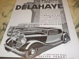 ANCIENNE PUBLICITE VICTOIRE TOUR DE FRANCE DELAHAYE 1933 - Voitures