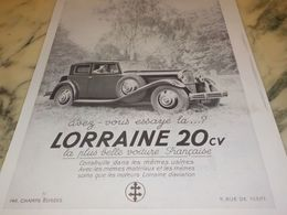 ANCIENNE PUBLICITE VOITURE LA  LORRAINE 20 CV 1933 - Voitures