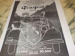 ANCIENNE PUBLICITE  ON ADMIRE LE STYLE  PEUGEOT 1933 - Voitures