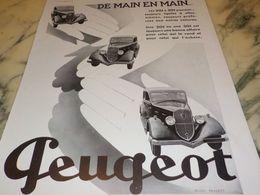 ANCIENNE PUBLICITE  DE MAIN EN MAIN  PEUGEOT 1933 - Voitures