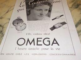 ANCIENNE PUBLICITE LE CADEAU MONTRE OMEGA 1933 - Bijoux & Horlogerie