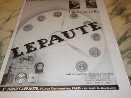 ANCIENNE PUBLICITE VIELLE MAISON FRANCAISE LEPAUTE 1933 - Bijoux & Horlogerie