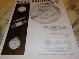 ANCIENNE PUBLICITE  SUCCURSALE MONTRE PATEK PHILPPE 1933 - Bijoux & Horlogerie