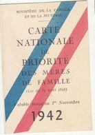 Carte Nationale De Priorité Des Mères De Famille 1942 - Historische Documenten
