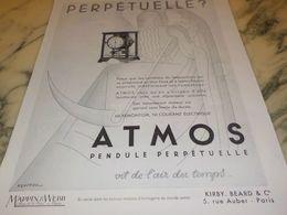ANCIENNE PUBLICITE PENDULE PERPETUELLE ATMOS MAPPIN ET WEBB  1933 - Bijoux & Horlogerie
