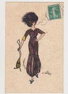 Carte Fantaisie Signée Ch.Railpod / Jeune Femme élégante ( Robe Longue , Chapeau ) Fumant Une Cigarette - Künstlerkarten