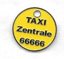 Jeton De Caddie  étranger  Allemand  Jaune  Transport  TAXI  Zentrale  66666  à   74074 Heilbronn - Gettoni Di Carrelli